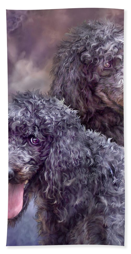 Poodle Bath Sheet featuring the mixed media Two Poodles by Carol Cavalaris