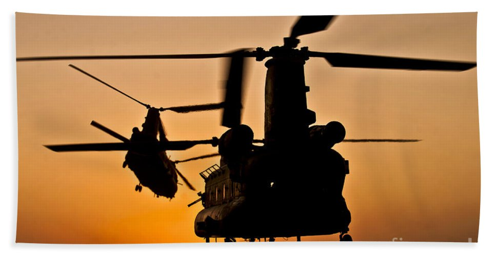 Afghanistan Hand Towel featuring the photograph Two Royal Air Force Ch-47 Chinooks Take by Stocktrek Images