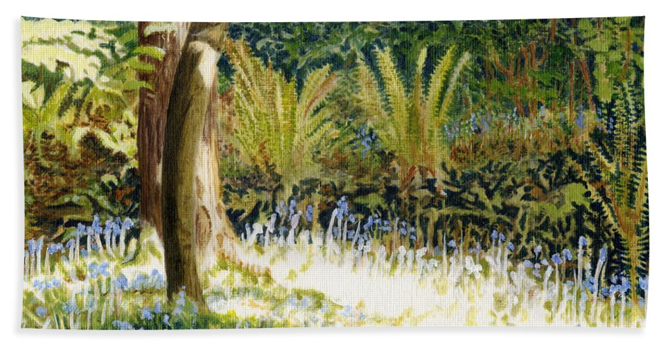 Sunlit Bluebells Bath Sheet featuring the painting Sunlit Bluebells Llanina Ceredigion by Edward McNaught-Davis