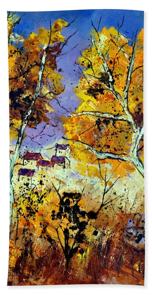 Landscape Bath Sheet featuring the painting Two Trees In Fall by Pol Ledent