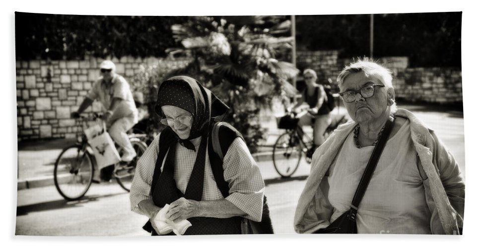 Rovinj Hand Towel featuring the photograph Two Women In Rovinj 2 by Madeline Ellis