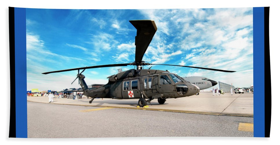 Airshow Bath Sheet featuring the photograph Uh-60 Black Hawk by Greg Fortier