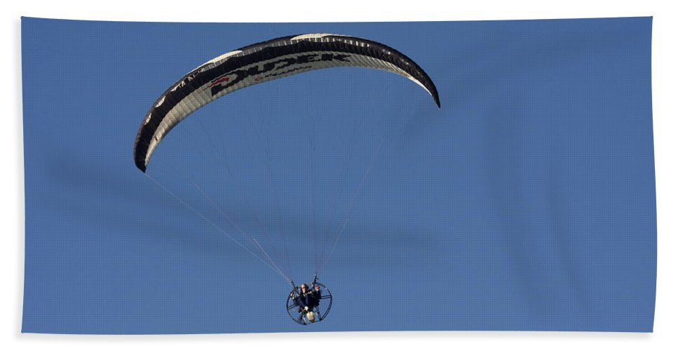 Ultralight Flying Bath Sheet featuring the photograph Ultralight In Flight by Sally Weigand