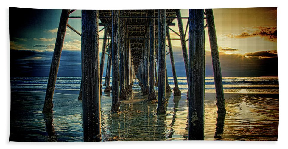 Sunset Hand Towel featuring the photograph Under The Boardwalk by Chris Lord