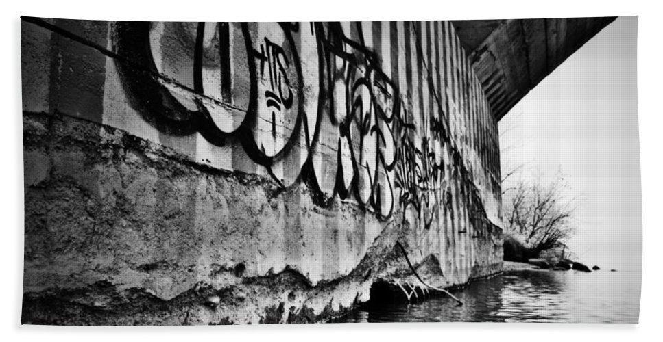 Black And White World Photographer Hand Towel featuring the photograph Underneath The Bridge by The Artist Project