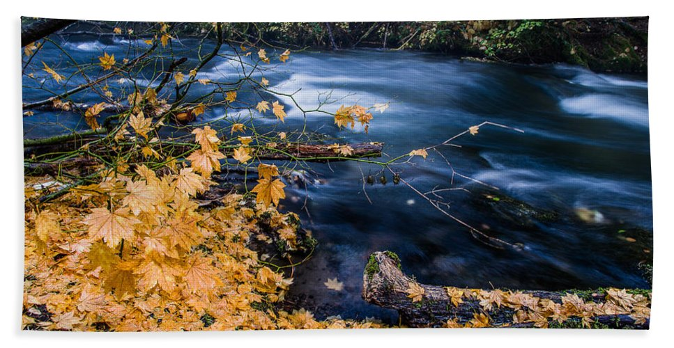 Union Creek Bath Sheet featuring the photograph Union Creek In Autumn by Greg Nyquist
