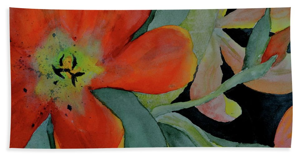 Tulips Bath Sheet featuring the painting Up Front by Beverley Harper Tinsley