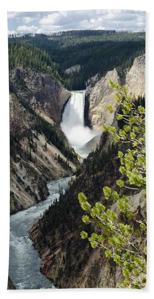Yellowstone National Park Bath Sheet featuring the photograph Upper Falls Of The Yellowstone River by Jon Berghoff