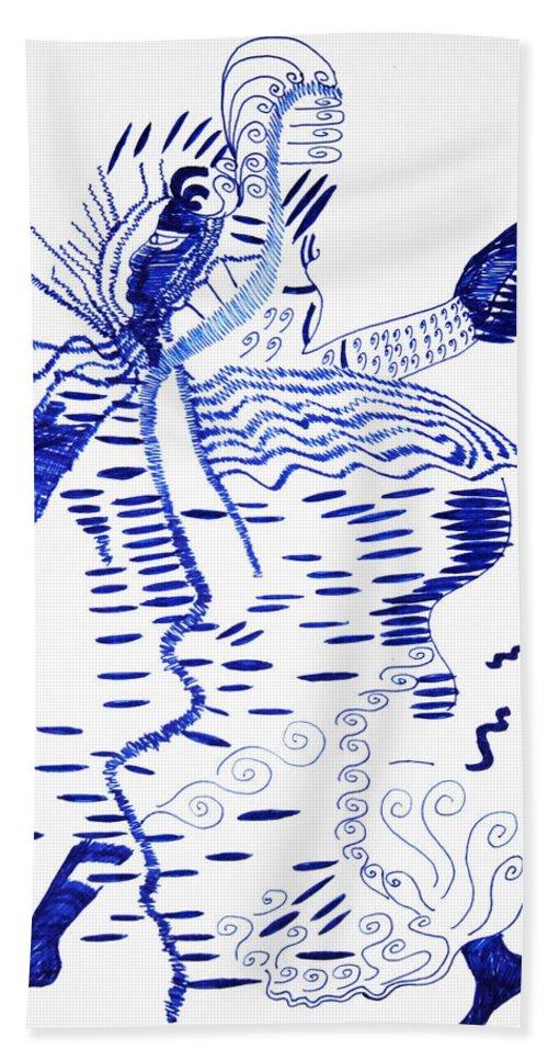 Jesus Bath Sheet featuring the drawing Upper Guinea Dance by Gloria Ssali