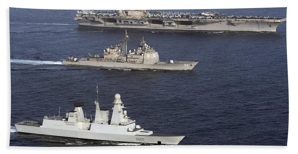 Operation Enduring Freedom Bath Sheet featuring the photograph U.s. And French Navy Ships Transit by Stocktrek Images