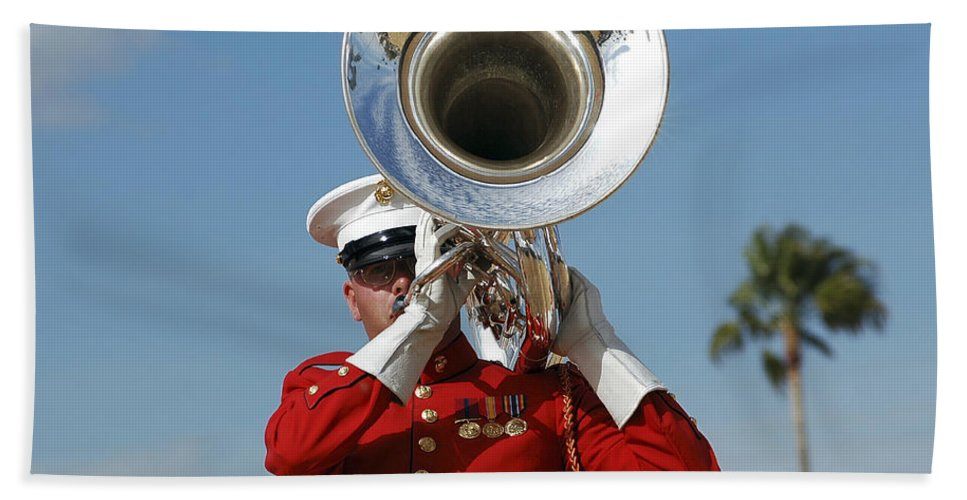 Hat Hand Towel featuring the photograph U.s. Marine Corps Drum And Bugle Corps by Stocktrek Images