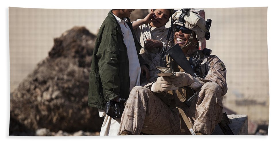 Afghanistan Hand Towel featuring the photograph U.s. Marine Practices Pashto by Stocktrek Images