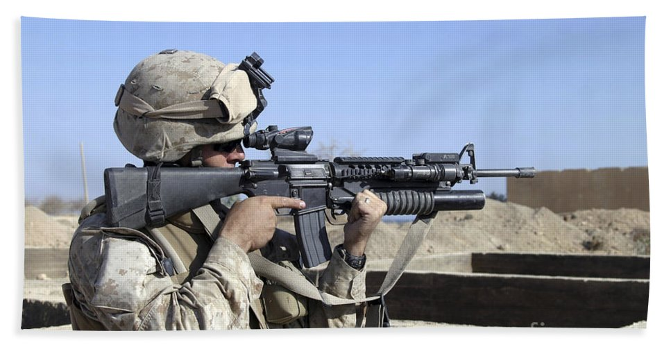 40mm Bath Sheet featuring the photograph U.s. Marine Sites Through The Scope by Stocktrek Images