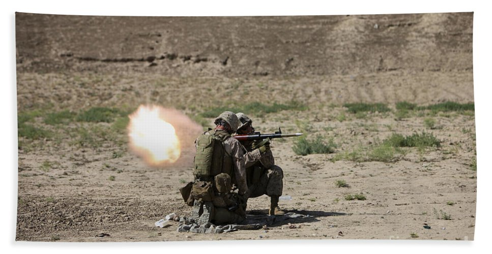 Kunduz Hand Towel featuring the photograph U.s. Marines Fire A Rocket-propelled by Terry Moore