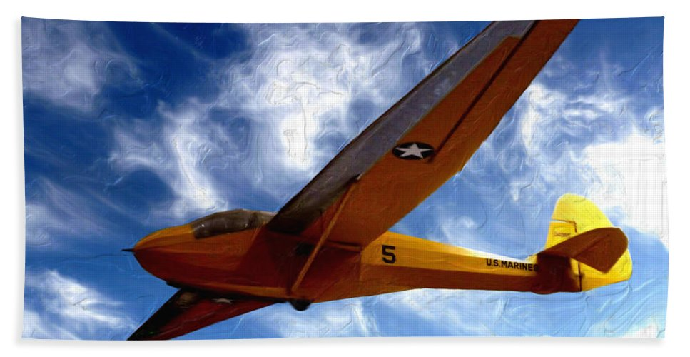 U.s. Marines Glider Hand Towel featuring the painting U.s. Marines Glider by Methune Hively