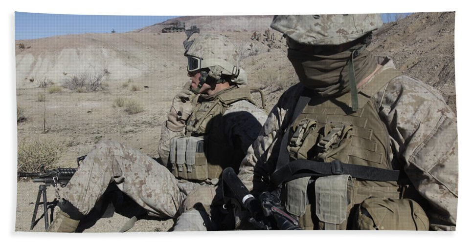 Us Marine Corps Hand Towel featuring the photograph U.s. Marines Take A Break by Stocktrek Images