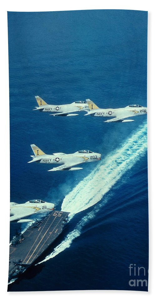 Jet Hand Towel featuring the photograph Us Navy Fj-2 Jets by Science Source