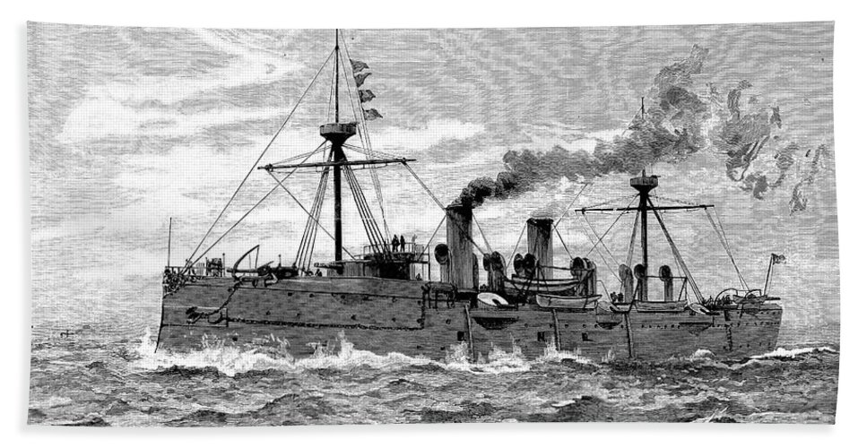 1890 Hand Towel featuring the photograph Uss Baltimore, 1890 by Granger