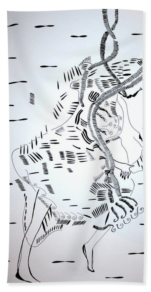 Jesus Bath Sheet featuring the drawing Ussua Dance - Sao Tome And Principe by Gloria Ssali
