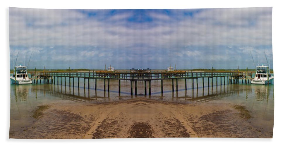 Topsail Bath Sheet featuring the digital art Vacation Reflection by Betsy Knapp