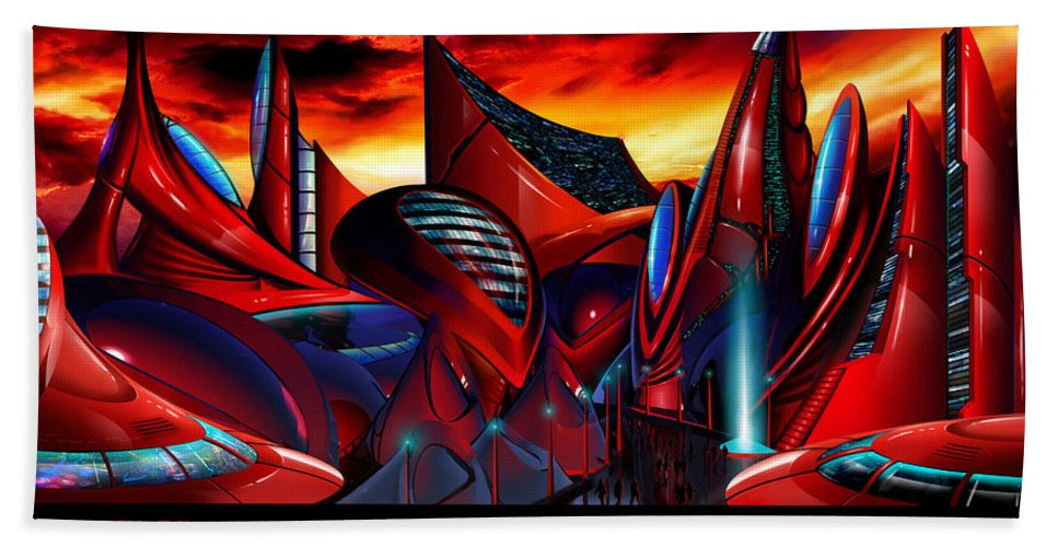 Science Fiction City Hand Towel featuring the painting Valaria Major III by James Christopher Hill