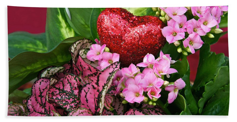 Valentine Hearts And Flowers Bath Sheet featuring the photograph Valentine Heart And Flowers by Byron Varvarigos