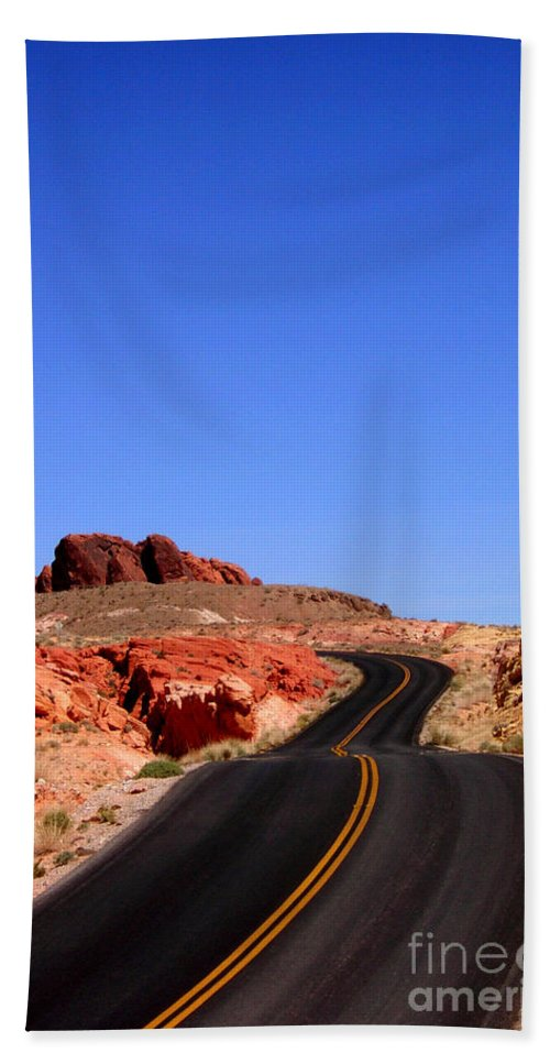 Valley Of Fire Bath Sheet featuring the photograph Valley Of Fire Road And Sky Nevada by Mike Nellums