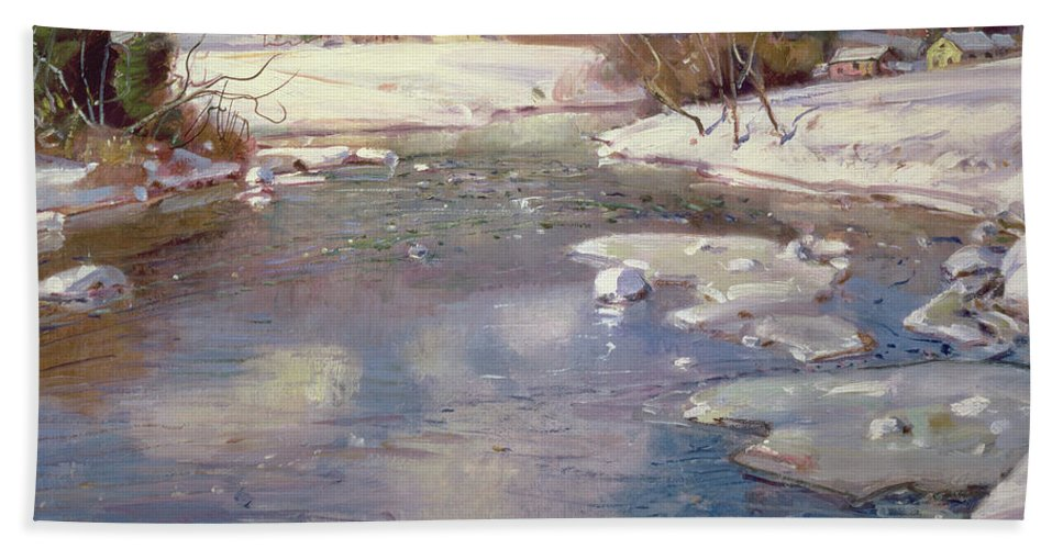 Winter Bath Sheet featuring the painting Valley Stream In Winter by George Gardner Symons