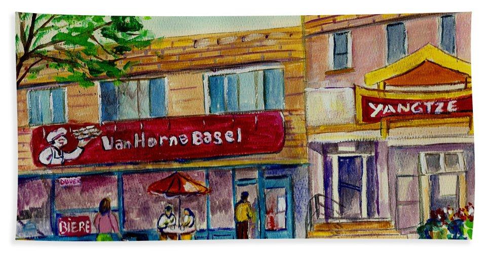 Bath Towel featuring the painting Van Horne Bagel And Yangtze Restaurant Sketch by Carole Spandau