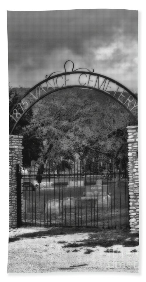Vance Hand Towel featuring the photograph Vance Cemetery Black And White by Donna Greene