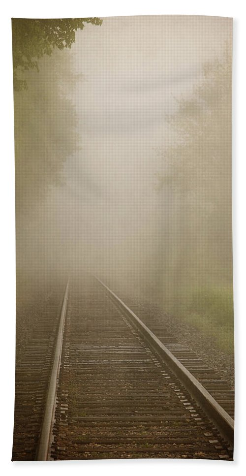 Railroad Bath Sheet featuring the photograph Vanishing Into The Fog by Dale Kincaid