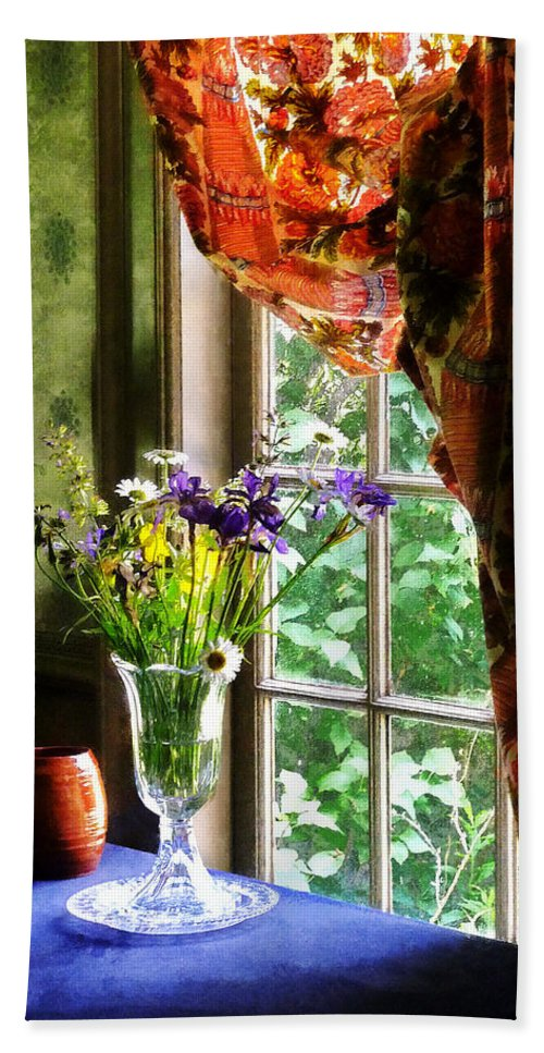 Flower Bath Sheet featuring the photograph Vase Of Flowers And Mug By Window by Susan Savad