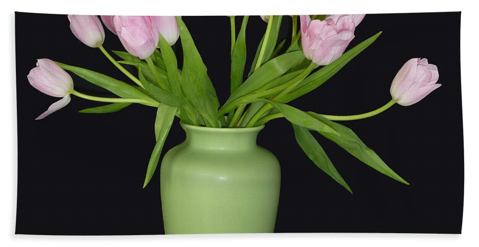 Vase Bath Sheet featuring the photograph Vase Of Pink Tulips by Sheila Laurens
