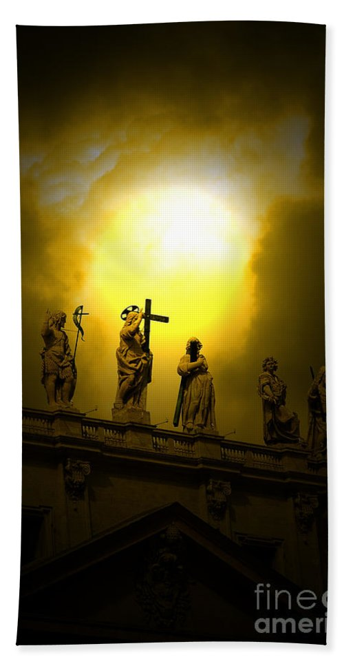 Vatican City Bath Sheet featuring the photograph Vatican City Statues Vatican City Rome Italy by Mike Nellums