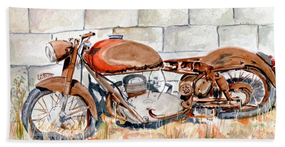 Still Life Bath Sheet featuring the painting Vecchia Gilera by Giovanni Marco Sassu