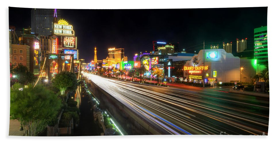 Art Bath Sheet featuring the photograph Vegas Light Trails by Yhun Suarez