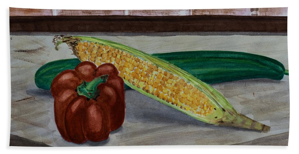 Watercolour Hand Towel featuring the painting Vegetables by Barbara McMahon
