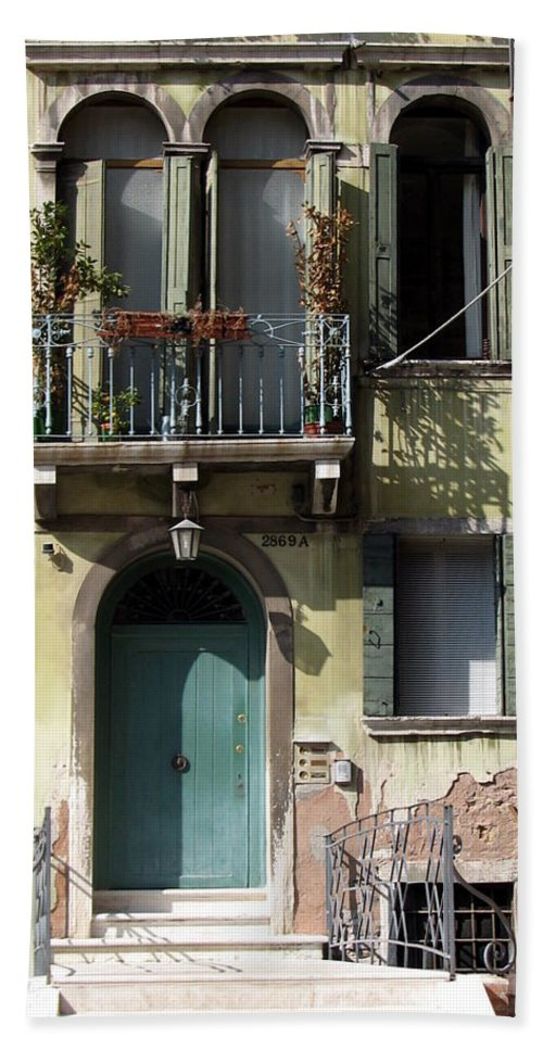 Venice Bath Sheet featuring the photograph Venetian Doorway by Carla Parris
