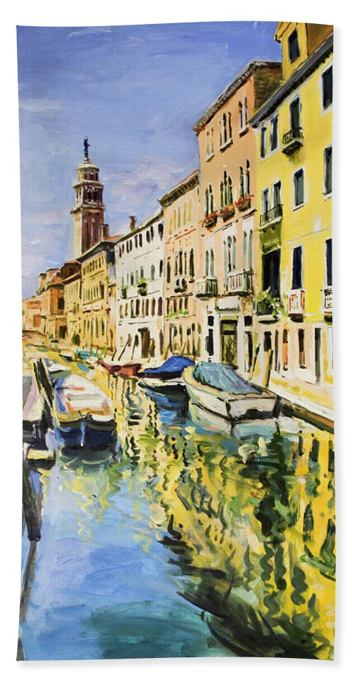 Venice Canal Bath Sheet featuring the painting Venice Canal by Conor McGuire