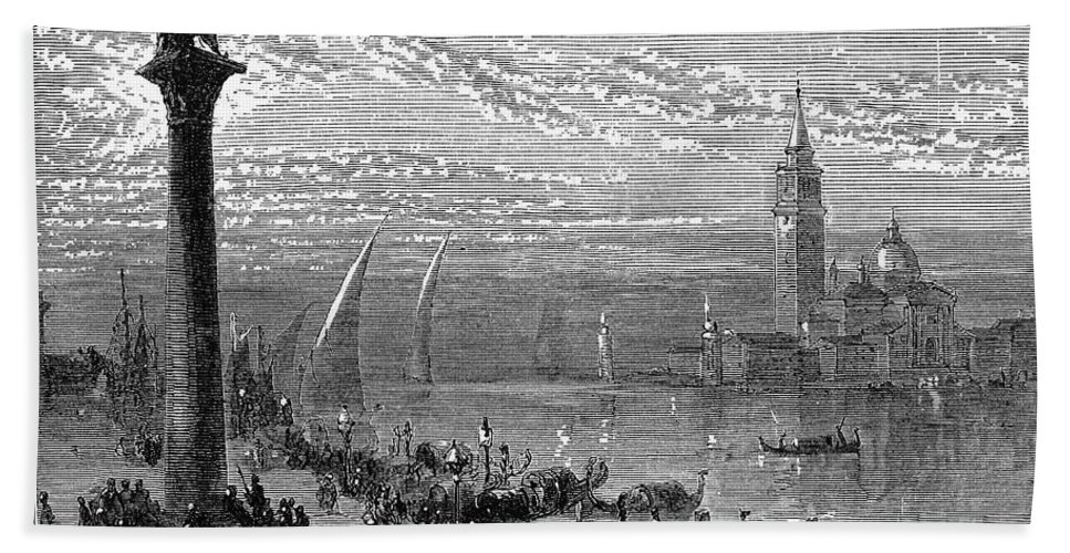 1875 Hand Towel featuring the photograph Venice: Grand Canal, 1875 by Granger