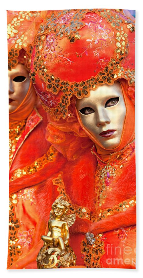 Carnaval Bath Towel featuring the photograph Venice Masks by Luciano Mortula