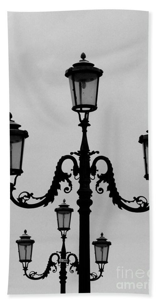 Venice Hand Towel featuring the photograph Venitian Lamp Posts Bw by Mike Nellums