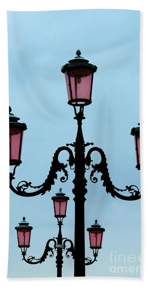 Venitian Bath Sheet featuring the photograph Venitian Lamp Posts Venice Italy by Mike Nellums