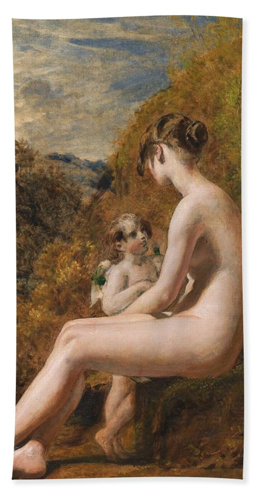 Venus And Cupid (oil On Millboard) Nude; Female; Landscape; Wings; Love; Seated; Full Length; Aphrodite; Talking; Conversation; Nude Bath Sheet featuring the painting Venus And Cupid by William Etty