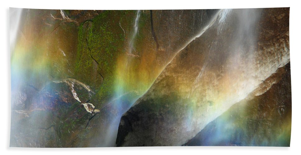 Rainbow Bath Sheet featuring the photograph Vernal Falls Rainbow At Yosemite by Greg Matchick