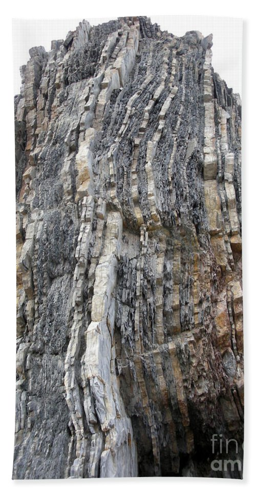 Strata Hand Towel featuring the photograph Vertical Sedimentary Strata by Ted Kinsman