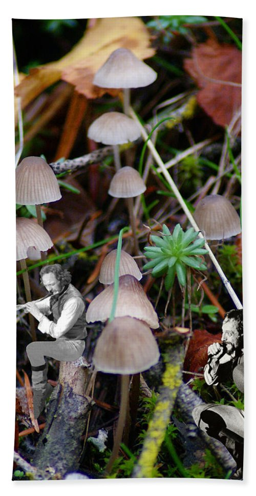 Jethro Tull Bath Sheet featuring the photograph Very Tull Mushrooms by Ben Upham III