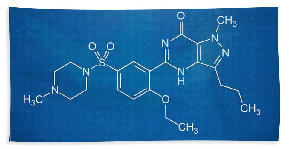 Viagra Bath Sheet featuring the digital art Viagra Molecular Structure Blueprint by Nikki Marie Smith