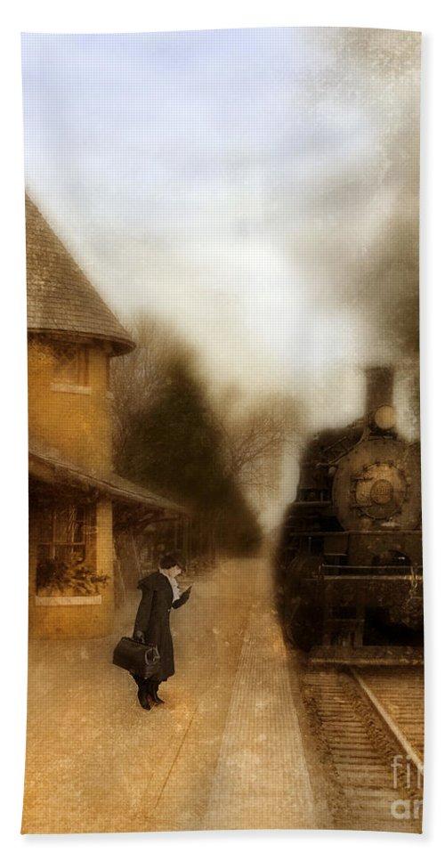 Woman Bath Sheet featuring the photograph Victorian Woman At Train Station by Jill Battaglia