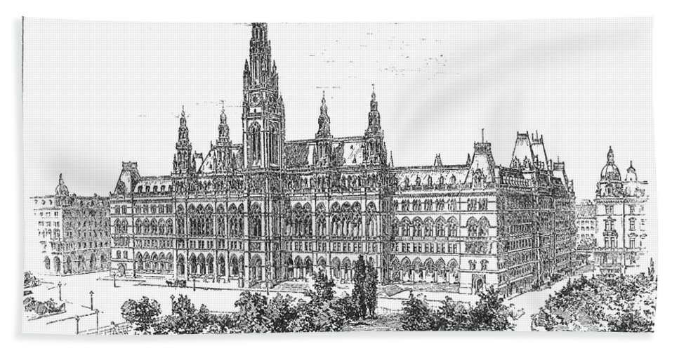 1889 Hand Towel featuring the photograph Vienna: City Hall, 1889 by Granger